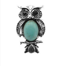 New Arrival Fashion Antique Silver owl Pendant Charm Turquoise Ring Adjustable