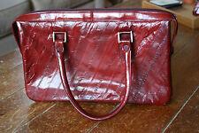 Vintage Deep Red Eel Skin Purse Handbag Medium Square w/ Handles Korea 7.5 x 12
