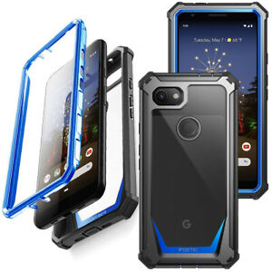 For Google Pixel 3a Case Shock Absorbing Clear Back Protection Cover Blue