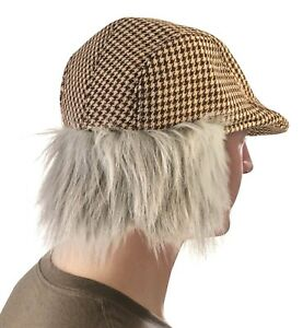 Funny OLD MAN HAT WITH GREY HAIR Irish Fake Wig Golf Cap Costume Joke Newsboy