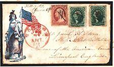 More details for usa civil war illustrated patriotic 1861 rare transatlantic use cover fronta4g63