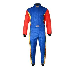 STR Club Race Suit Triple Layer FIA Approved 8856-2000 Blue/Red/Yellow