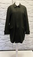 JASPER CONRAN Dark Green Wool Overcoat with Zipped Removable Lining Size XL Smar