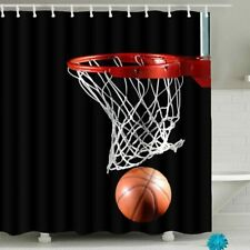 "Sports Basketball & Hoop Colorful Fabric Shower Curtain 100% Polyester 60"" x 70"""