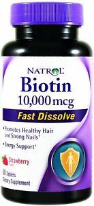Biotin Fast Dissolve Tablets by Natrol, 60 tablet 10,000 mcg 1 pack