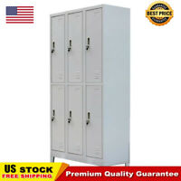 "School Office Locker Cabinet with 6 Compartments Steel 35.4""x17.7""x70.9"" Gray"