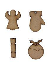 20x Mixed Christmas Cracker Pudding Angel Glove 3cm Craft Embelishments ShapeMDF