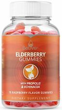 Elderberry Gummies with Propolis, Echinacea. Sambucus, Vitamin C 70 Count BeLive