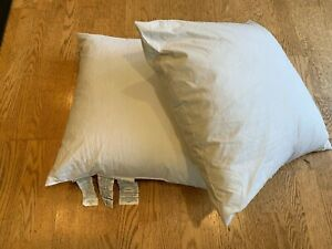 "Qty 2 - Pottery Barn White Duck Feather PILLOW INSERTS 24x24 24"" Square"