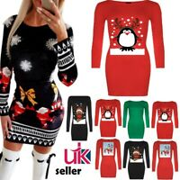 Women's Christmas Printed Long Sleeve Bodycon Mini Dress Jumper Party Tunic Tops
