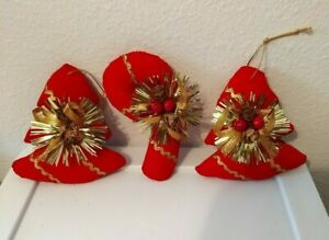 "3 Vintage Stuffed Plush Red Velvet Gold Burst Ornaments 4"" Candy Cane - Tree"