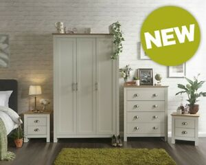 Lancaster Cream/Oak 4 Piece Bedroom Set, Assembly Option, LOCAL DELIVERY ONLY