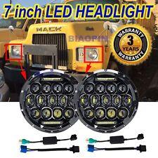 Chrome 7''Inch Round CREE LED Headlights Sealed Hi/Lo Beam DRL For Mack R Series