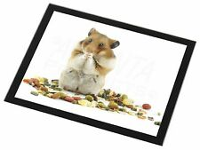 Lunch Box Hamster Black Rim Glass Placemat Animal Table Gift, HAM-1GP