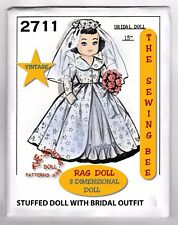 """Bridal Rag Doll Pattern with Outfit 15"""" Vintage - 3 dimensional Doll No. 2711"""