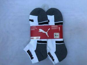 New Puma Low Cut Men's Cushioned Socks size 10-13  Gray/White Mult. 6 pairs