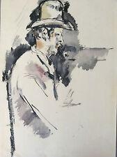 Encre aquarellée d'après Cézanne - Provence France