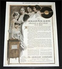 1919 OLD MAGAZINE PRINT AD, AEOLIAN-VOCALION PHONOGRAPHS FOR GREAT ARTISTS, ART!