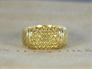 $4995 David Yurman 18K Yellow Gold Sapphire Pave Metro Cable 10mm Ring Size 6.25