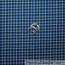 BonEful Fabric Cotton Quilt Blue Plaid Gingham Check Stripe Calico Plaid L SCRAP