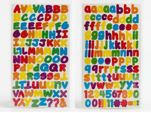 Self Adhesive 1.3cm Rainbow Alphabet Letters Capital & Lower 2 Sheets Per Pack