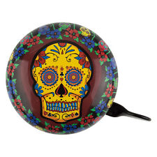 "SUGAR SKULL BICYCLE BIKE STEEL DING DONG BELL 3"" DIAMETER NEW"