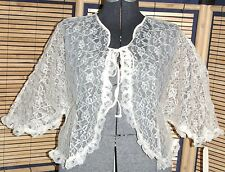 Vtg 50s Pearls & Lace Lingerie Collection Sheer Ivory Ruffles Sheer Bed Jacket