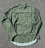 Rare Vintage Polo Ralph Lauren Duck Hunting Green Button Down Size Large