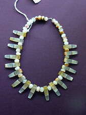 ONYX BEADS  Beige CRYSTALS Necklace Choker UNUSED