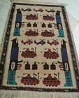 Afghan hand made war rug showing helicopters, tanks(Hand knotted rug)