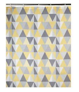 Geometric Ochre Yellow Grey Geo Print Shower Curtain Hooks 180x180cm Waterproof