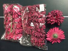 2 Dz Raspberry Zebra Daisy Silk flower heads New no stems Rhinestone Center