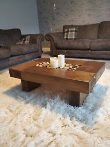Rustic handmade solid wood sleeper coffee table