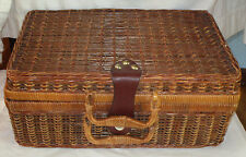 Suitcase Style Wicker Picnic Basket with Leather Looking Strap Closure