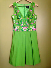 NWT Marchesa Notte Pleated Bright Green Floral Embroidered Faille Dress 4 $820