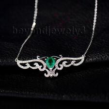 Real 14K White Gold Engagement Wedding Emerald Diamond Gemstone necklace