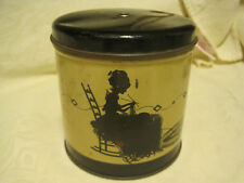 Vgt String/Yarn Holder Round Tin W/Black Silhouette Sewing Lady W/Cat