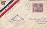 US Airmail 1929 Diamond Shaped First Flight Plane Slogan Stamp Cover Ref 48493