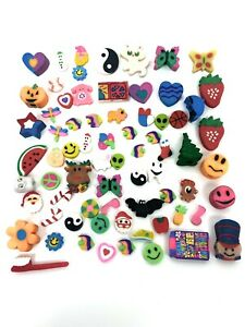 Vintage Lot Of 70 Erasers 90s Stars Love Hearts Lisa Frank Cats Fish Sports