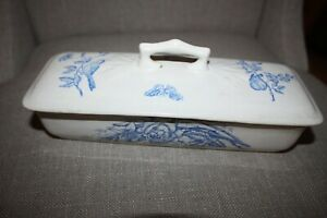 Aesthetic Movement Blue & White Transferware Toothbrush Holder, Birds, Butterfly