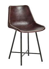 DINE, Stuhl Leder Metall 2er Pack, Esszimmerstühle Leder-Metall Industriedesign