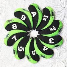 New A Set Of 10pcs Black&Green Neoprene Golf Club Iron Head Cover Headcovers