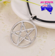 Inverted Pentagram Pentacle Satan Pendant Necklace Gothic Antichrist Down Point