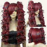 """24"""" Heat Resistant Wine Red Cosplay Wig with Curly Clip-On Ponytails 5118"""