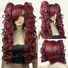 "24"" Heat Resistant Wine Red Cosplay Wig with Curly Clip-On Ponytails 5118"