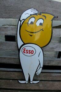Vintage Enamel Esso Boy Metal Sign Painted Poster Wall 29 cm x 60 cm