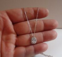 925 STERLING SILVER OVAL HALO PENDANT NECKLACE W/ 2.50 CT LAB DIAMONDS /18''