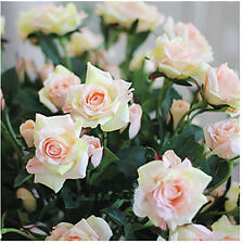 REAL TOUCH 4-head Rose x 6 - artificial flowers - 5 colours available