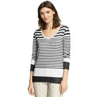 VINCE Womens Small Tee Black White Striped Variegated Long Sleeve T Shirt Top