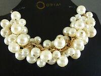 Damen Collier Perlenkette Schmuck Kette Halskette Gold Creme Weiß Perlen Primark